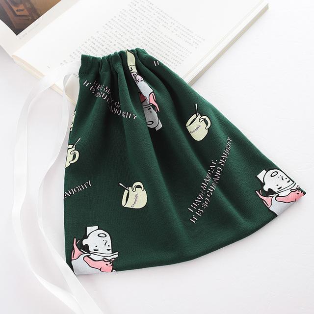 Women's Green Patterned Cotton Pajamas