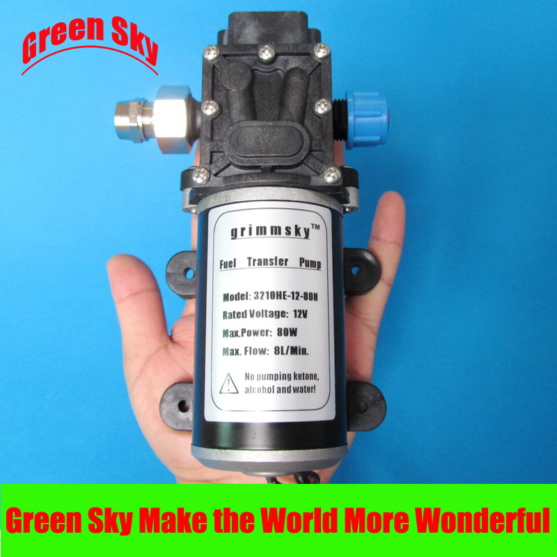 8L/Min 80W 12V DC high flow oil diesel water fuel pump 51mm dc 12v water oil diesel fuel transfer pump submersible pump scar camping fishing submersible switch stainless steel