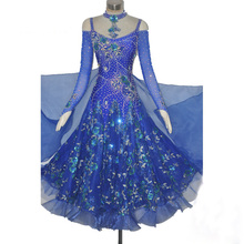 Women's Ballroom Dance Dress Royal Blue Profession Custom Made Waltz Tango Flamenco Competition Costume Lady Dancing Dresses