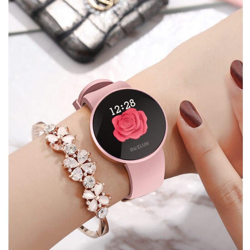 Bozlun moda kobiety inteligentny cyfrowy zegarek kobiet okres przypomnienie HeartRate zegarki wodoodporne sportowy zegarek B36