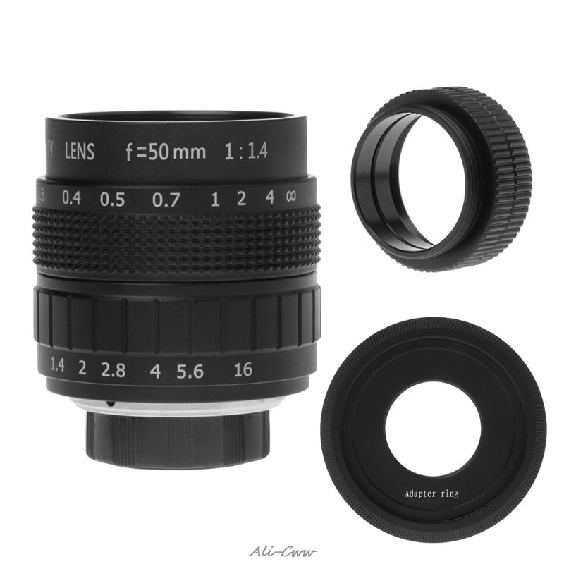 50mm CCTV Lens + 2 Micro Distance Ring + C Mount For M4/3/ NEX/ EOS/Nikon Adapter