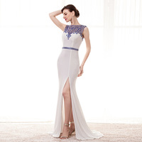 2018 New White Mermaid Prom Dress Beaded Blue Crystal Evening Dress Sexy side Slit Party Dresses