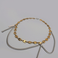 Chain Necklace fashion Gold & Silver filled double Color Tassel Splicing pig nose clavicle chain Layered Korea Necklace