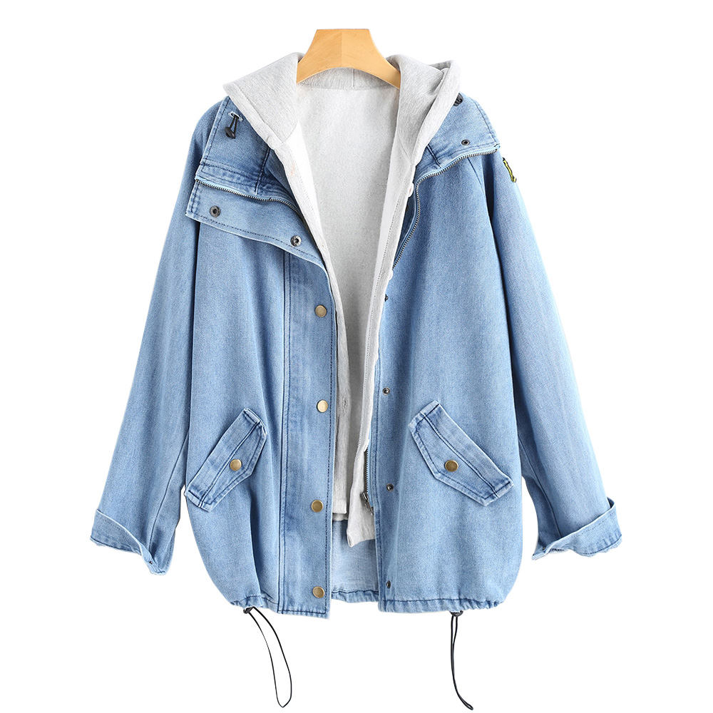 2 Pieces Button Up Denim Jacket Hooded 4XL Women Jean Plus Size Autumn Women Coat 2018 New Fashion Casual Jean Coat Womens in Jackets from Women 39 s Clothing