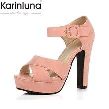 KARINLUNA 2017 Señoras Del Verano de La Vendimia Square Tacones Altos Plataforma Sandalias de Mujer Zapatos de las mujeres Escarda Partido Calzado Tamaño Grande 34-43