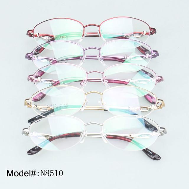 8510 cristal da mulher designer de meio aro de metal óculos óculos de prescrição óculos de miopia hipermetropia óculos óculos armações