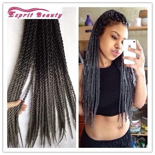 Dark Grey Ombre Senegalesetwist Crochet Hair Synthetic Braiding Extensions 100g Pack 22 Havana