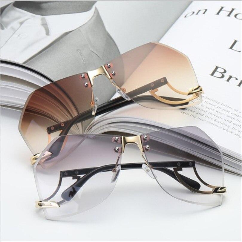2018 Women's Running Flight Frameless Ocean Sunglasses Europe and America Trendy Glasses Sunglasses 2