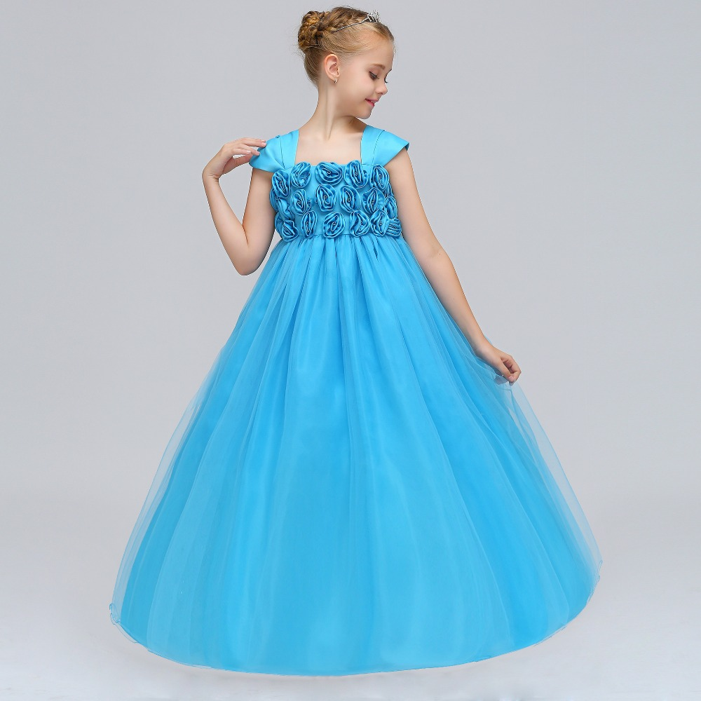 Lovely Cute Hand   Flower   Square Neck Cap Sleeves Tulle A-line Princess   Flower     Girl     Dresses   For Weddings First Communnion Gown