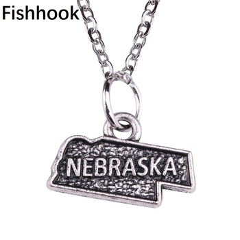 Special Offers  Fishhook Fashion Jewelry Map of USA State Nebraska Chain Necklace Pendants for MenWomen Custom Zinc Alloy Charms Trendy Gifts
