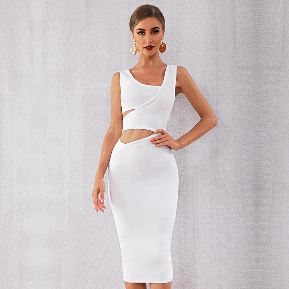 Newest Celebrity Party Bodycon Bandage Dress Women Black White Sleeveless Sexy Hollow Out Night Club Vestidos