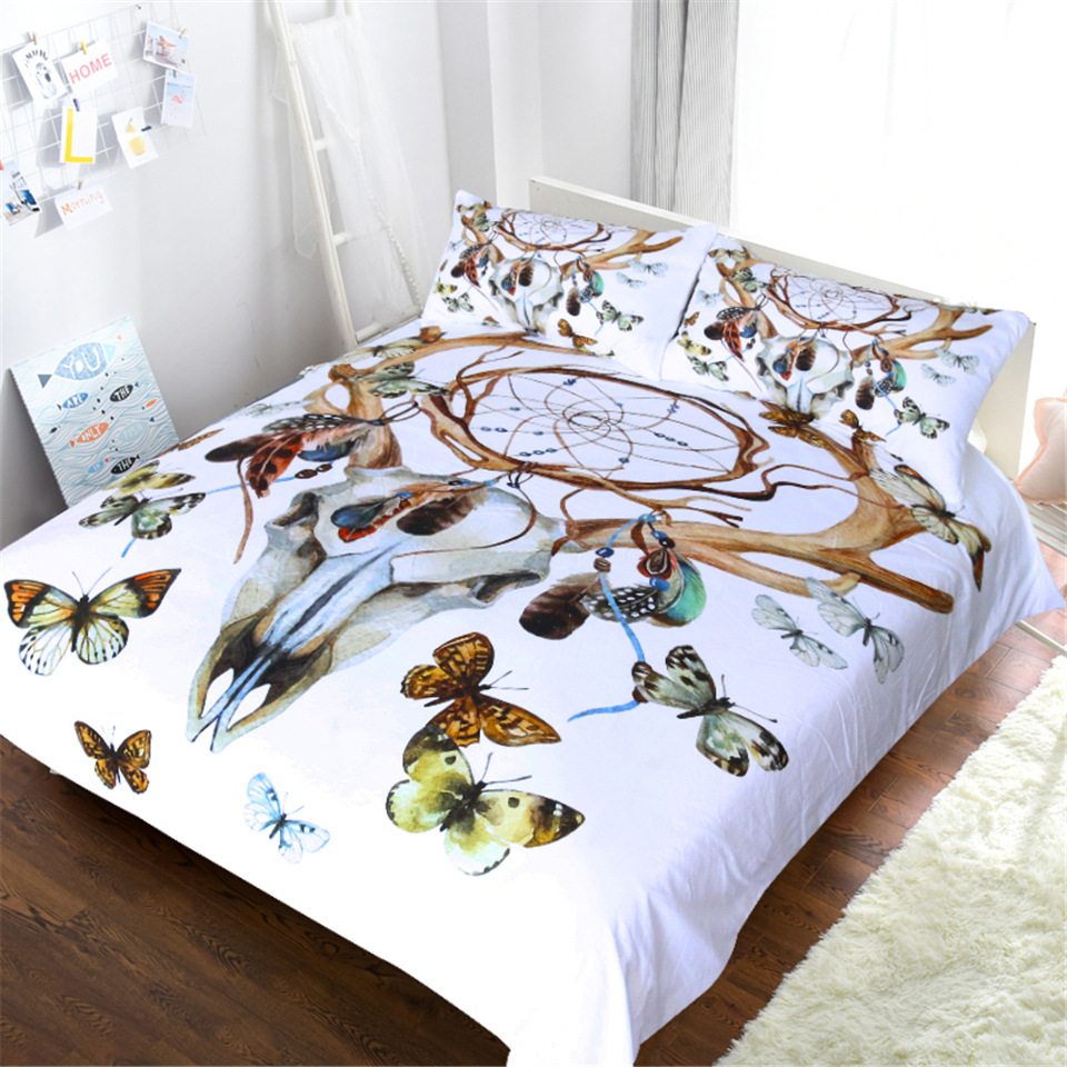 Image 2 - CAMMITEVER Butterfly Dreamcatcher Bedding Set King Size Luxury Print Bohemian Bedclothes 3d Universe Duvet Cover-in Bedding Sets from Home & Garden