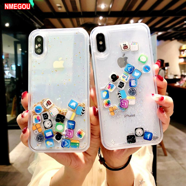 the latest e4176 6804d US $2.46 15% OFF|Liquid Glitter Quicksand Silicone Soft Tpu Case for IPhone  Xs Max Xr X 6 6s 7 8 Plus Cute Coque Water Cover for Apple App Icon-in ...