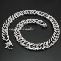 LINSION 18 ~ 36 Huge Heavy 316L Stainless Steel Cuban Chain Biker Rocker Punk Necklace 5R002