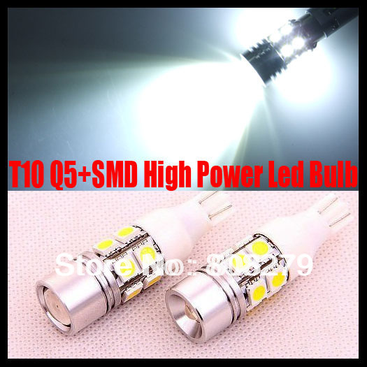 2 pieces / lot T10 W16W 501 7W High Power Q5 LED chip Xenon White Parking Reverse Side Marker Light