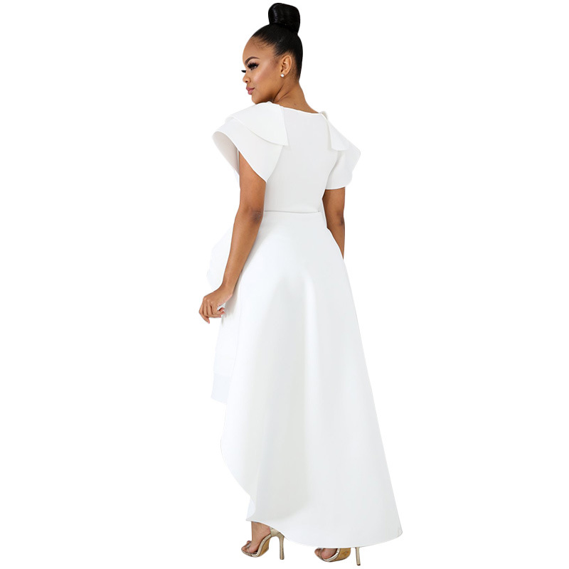 Women High Low Asymmetrica Ruffle Mid Dress Fashion V Neck Short Sleeves Irregular Dress Summer Casual Solid Dresses in Dresses from Women 39 s Clothing