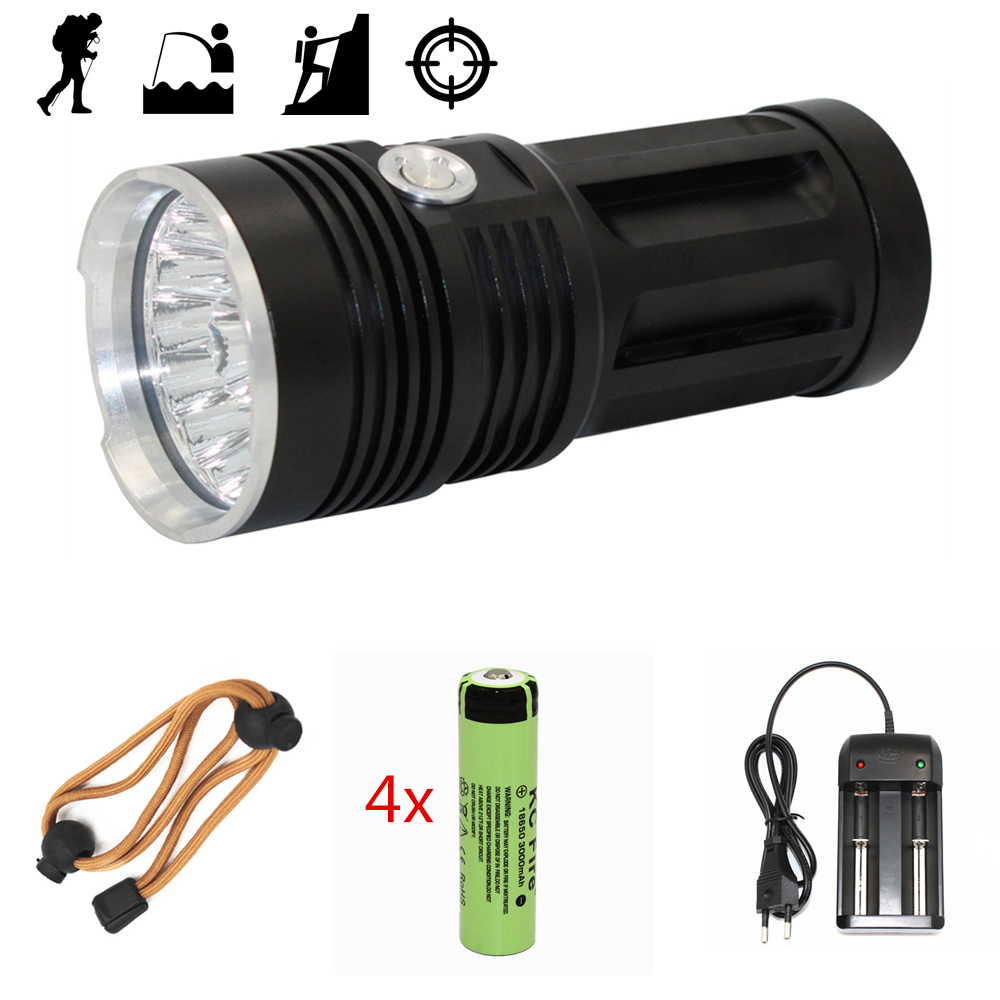 High Power 14x XM-L T6 LED Flashlight Portable Tactical lanterna 3 Modes Light Camping Hunting Lamp 18650 Battery + AC Charger 20 w 20000 lumens bright 16 xm l t6 led flashlight torch 3 modes tactical military light lanterna for cycling camping