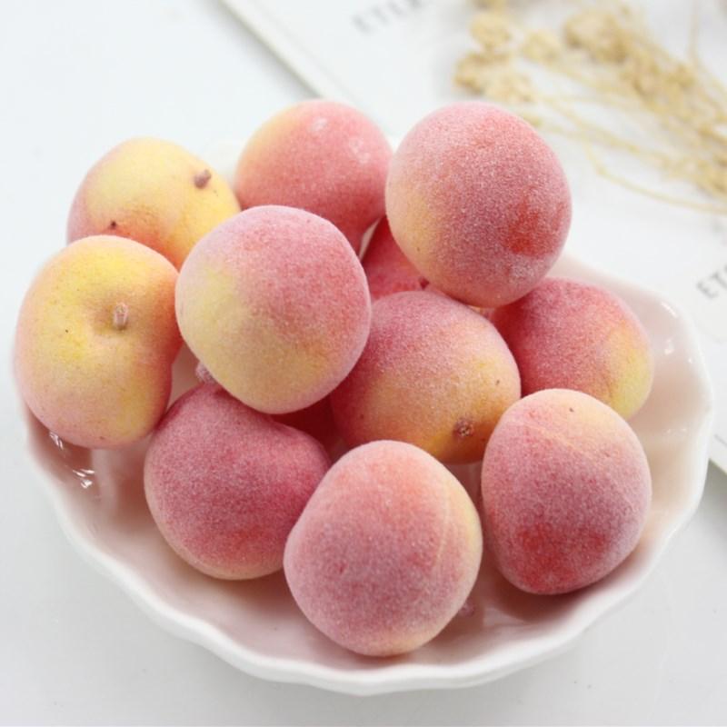 10 PcsMini Toy Fruit Peach Small Strawberry Food Simulation Vegetable Set Kichen Toys Children's House Decoration Teaching Help