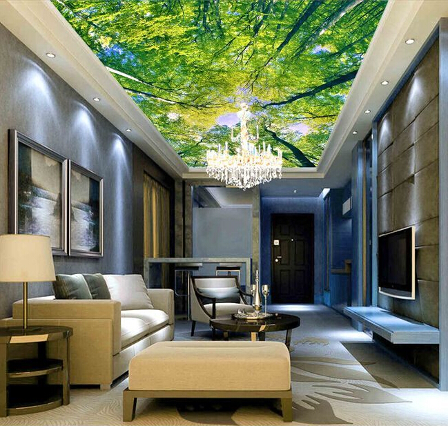 Custom ceiling wallpaper, looking up forest murals for the living room ceiling wall waterproof wallpaper papel de parede custom ceiling wallpaper blue sky and white clouds murals for the living room apartment ceiling background wall vinyl wallpaper