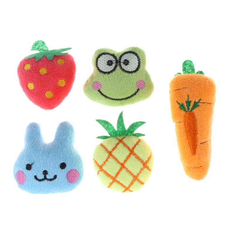 5pcs Pet Toys Cat Mint Fruit Animal Series Soft Plush Cotton Cat Dog Chew Toys Squeaky Sound Toys for Dog Puppy