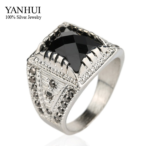 YANHUI Classic Vintage Men Ring Real Silver Color Black Stone