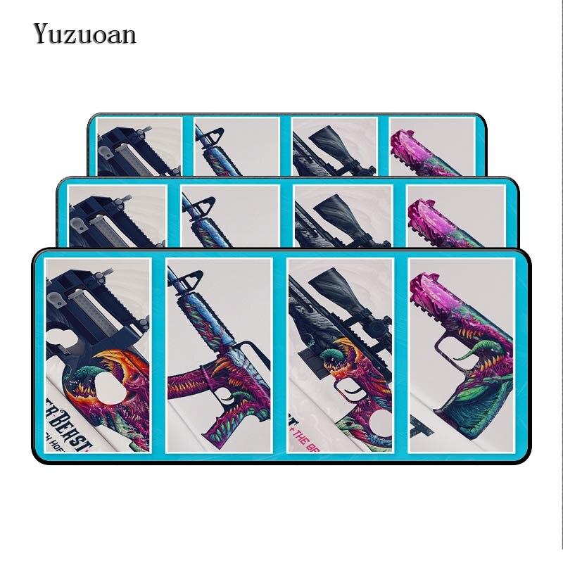 Yuzuoan 900x400 mm large gaming Overlock Gun mouse pad XL XXL big game mousepad keyboard desk mat for CS:GO Gamer birthday Gift