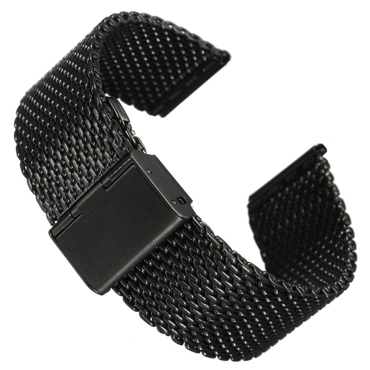 Практичный 22 мм унисекс нержавеющая сталь кольчуге ремешок группы новый год подарок черный