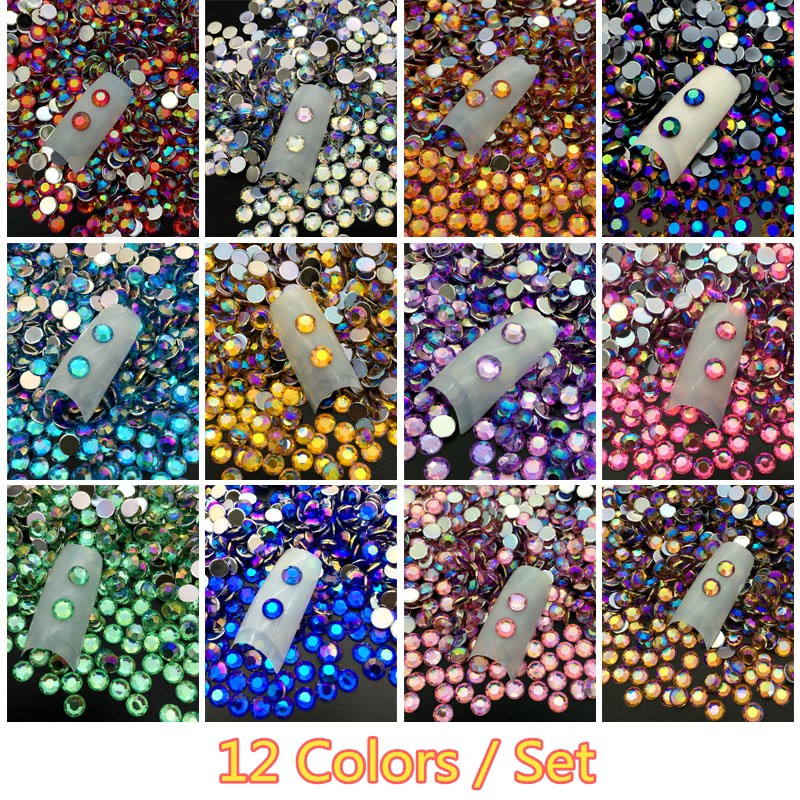 12COLORS/set 5MM DIY 3D Acrylic Crystal Rhinestones Nail Decoration Round Colorful Glitters Art Decorations wholesale