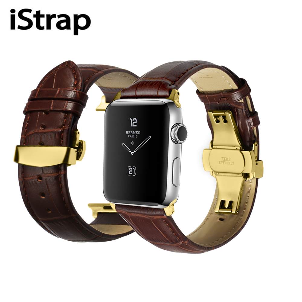 iStrap Black Brown Calf  Adapter Deployment Buckle 38mm 42mm Watch Band  for IwatchSeries2 Series3 for Leather Apple Watch Strap istrap black brown red france genuine calf leather single tour bracelet watch strap for iwatch apple watch band 38mm 42mm