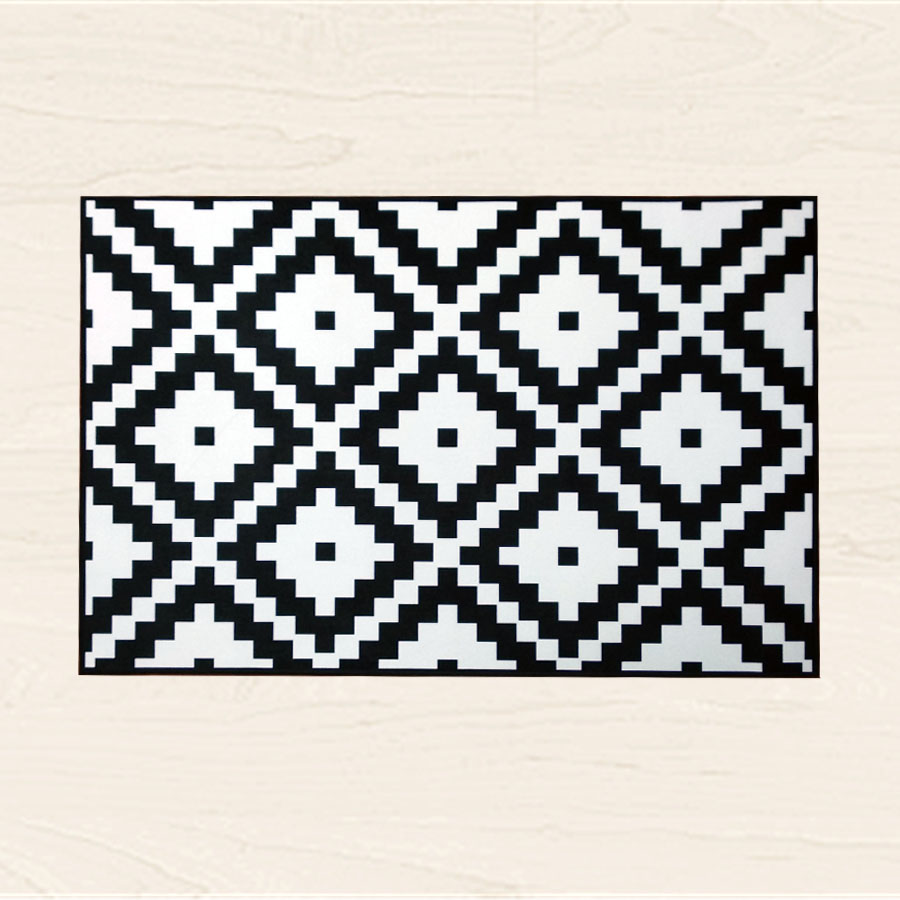Nordic geometric rug black and white striped carpet - Black and white living room rug ...