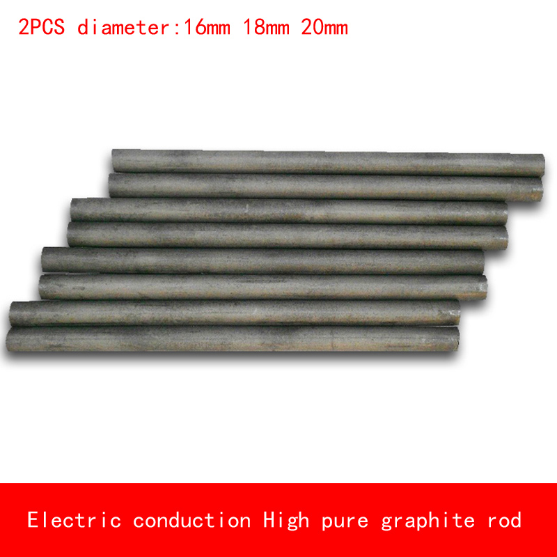 2pcs diameter 16mm 18mm 20mm length 50-300mm heat resistant Electric conduction high Pure Graphite rod Electrode Carbon rod 5pcs 100mm length graphite rod 10mm diameter electrode cylinder rods bars black for industry tools