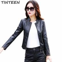 ФОТО tinteen 2018 new high quality faux leather jacket women pu black blazer autumn spring slim jaqueta couro feminina jackets gc119