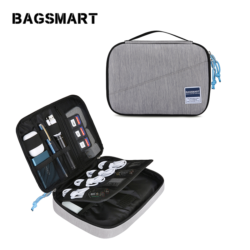 BAGSMART Cable Organizer Bag Travel Electronics Accessories Case for Hard Drives, Cables, Charger, Kindle, 7.9'' iPad mini