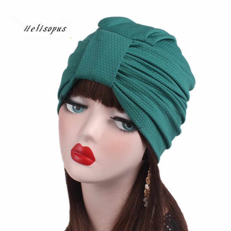 9b6e974db9466 Helisopus Women New Knotted Turban Cap Fashion Hats Indian Style Chemo Caps  Women Hair Accessories Bandanas