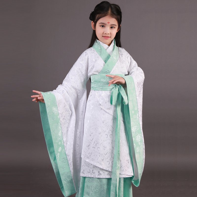 2018 autumn hanfu dress ancient chinese traditional costume for kids girls hanfu cosplay child clothing rtang dynasty dance teen 2017 autumn kids costume girls hanfu stage clothing photography costume song of the goose