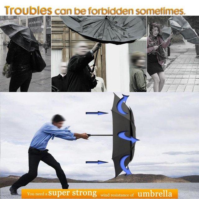 130cm Big Top Quality Umbrella Men Rain Woman Windproof Large Paraguas Male Women Sun 3 Floding Big Umbrella Outdoor Parapluie 5