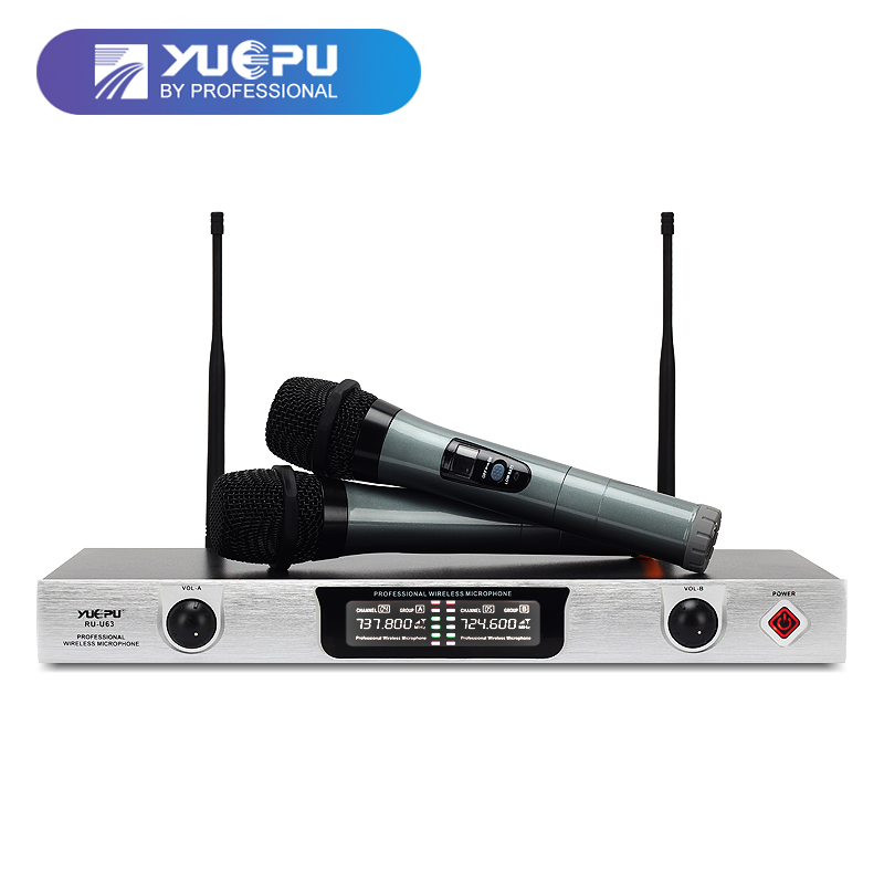 YUEPU RU-U63 Professional UHF Fixed Karaoke Microphone Wireless System Dual Channel 2 Handheld Mic For Church Speech Family Use ur6s professional uhf karaoke wireless microphone system 2 channels cordless handheld mic mike for stage speech ktv 80m distance