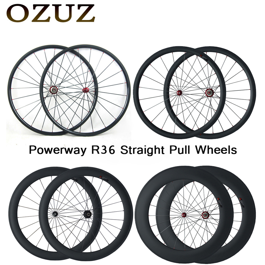 OZUZ Straight Pull Carbon Wheels 24mm 38mm 50mm 60mm 88mm Clincher Tubular Road Bike Bicycle Wheel Powerway R36 Hub Wheelset 700c front 38mm rear 50mm depth road carbon wheels 25mm width bike clincher tubular carbon fiber wheelset with powerway r36 hub