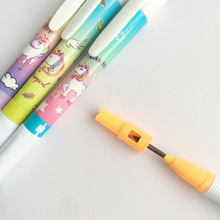 1 pcs Unicorn Rainbow With Pencil Sharpener Mechanical Student Automatic Pen For Kid School Office Supply