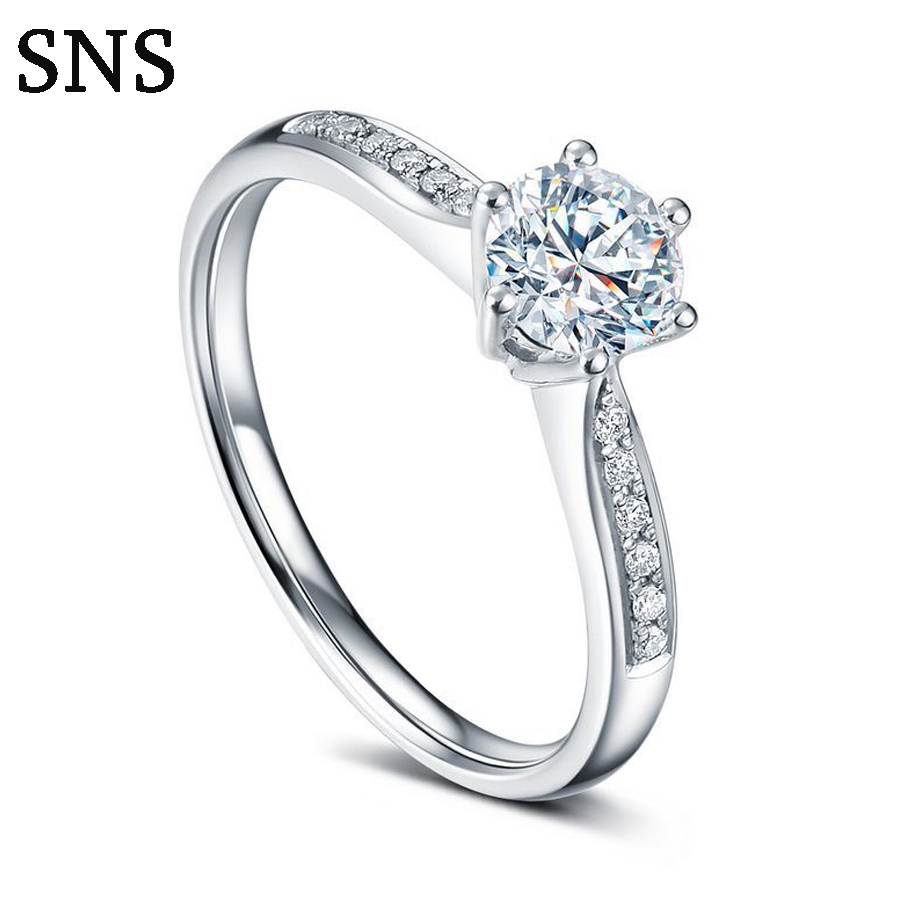 Solid 14k White Gold Pave Natural Diamonds Women's Fine Jewelry 0.15ct Round Engagement Wedding Ring Classic 6 Prong Setting