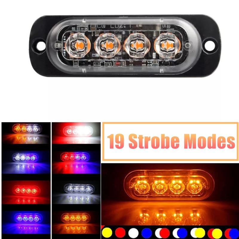 4led carro luz de advertência estroboscópica grill piscando avaria luz de emergência caminhão do carro reboque farol lâmpada led luz lateral para carros