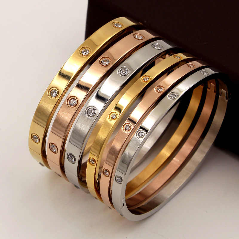 2019 tytanu miłość biżuteria kryształowe spinki do mankietów bransoletka dla kobiet/mężczyzn złoty kolor bransoletki ze stali nierdzewnej i bransolety Bijoux najlepszy prezent