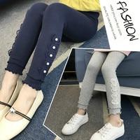 Trousers For Girls Teenage Girl Leggings Children Clothing 2018 Autumn Lace Pencil Pant Girl School Leginsy Dla Dziewczynki