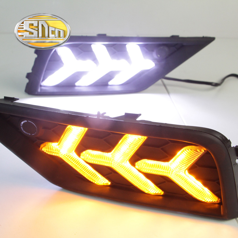 SNCN с желтым функции поворота 12В DRL автомобиля светодиодными фарами дневного света лампы дневного света для Фольксваген тигуан 2017 2018