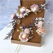 כלה מורי כיסוי ראש יבש תחרה נסיכת פרח שיער קמצוץ סט קוריאני כלה חתונת שיער תכשיטים