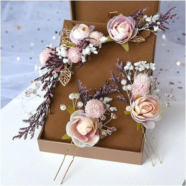 Noiva mori headdress laço seco princesa flor conjunto de pitada de cabelo casamento nupcial coreano jóias cabelo