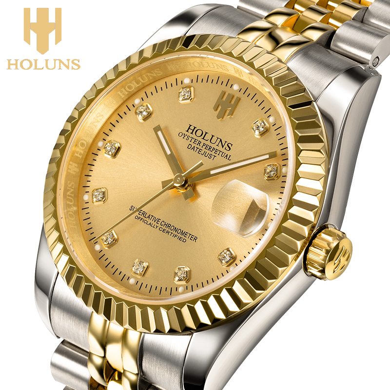 mechanical men gold watches automatic watch water resistant full Stainless Steel elegant watch for men watches
