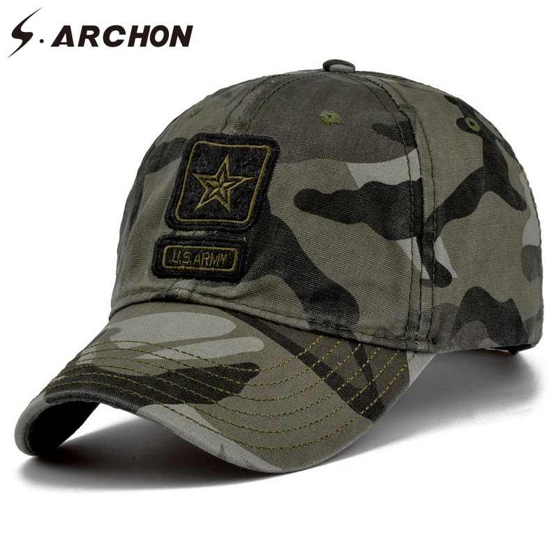80bc07ffd88987 S.ARCHON Tactical Camouflage Baseball Caps Men Embroidery 100% Cotton  Paintball Military Hats Women