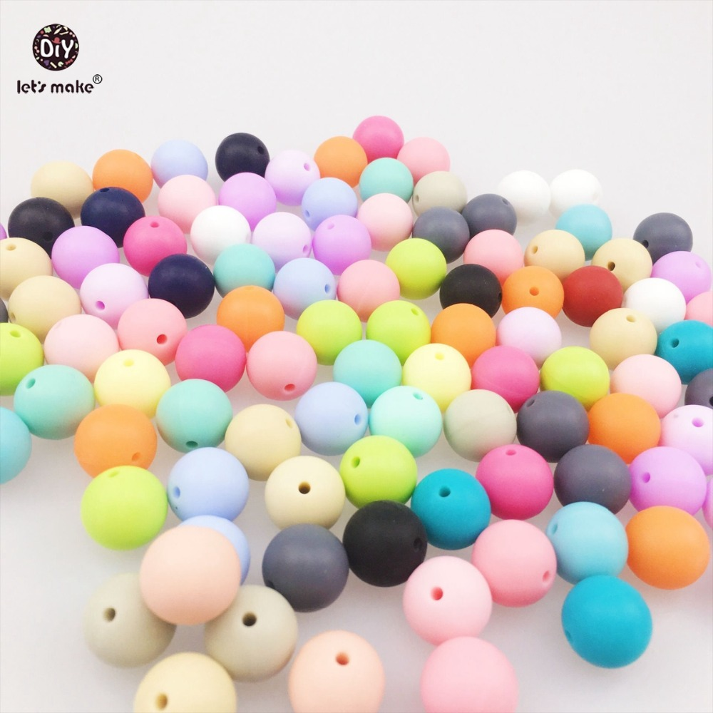 Let's Make Silicone Beads Round Sensory Baby Chew Balls(12mm 150pc)Teething Necklace Silicone Bead DIY Nusring Jewelry Mix Color