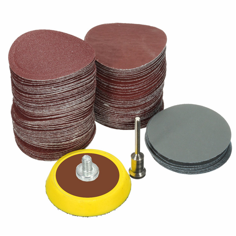 100pcs 25mm/1inch Sandpaper + 1pcs 1inch Hook Loop Backer Plate 1/8inch Shank + 1pcs Loop Sanding Pad Abrasives Mixed Polishing